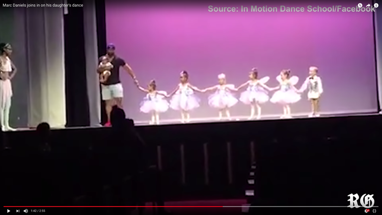 "The Internet has fallen in love with the dad who jumped on stage to help his daughter complete her recital performance after she was struck with stage fright. His new title is ""Daderina."""