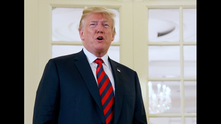 President Donald Trump speaks as he meets with Singapore Prime Minister Lee Hsien Loong ahead of a summit with North Korean leader Kim Jong Un, Monday, June 11, 2018, in Singapore. (AP Photo/Evan Vucci) ORG XMIT: SGPEV211