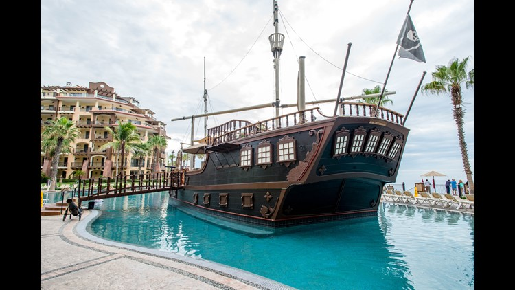 Here, guests will find a full-size pirate ship, hot tubs, a swim-up bar and a kids' play area. The beach here is beautiful, too, but swimming can be dangerous as the water is rough at times. Rooms come with kitchenettes or full kitchens — especially handy