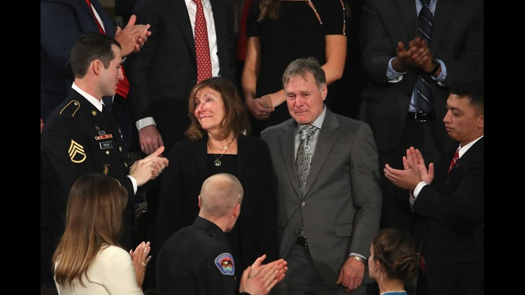 Parents of Otto Warmbier, Fred and Cindy Warmbier are acknowledged during the State of the Union address in the chamber of the U.S. House of Representatives January 30, 2018 in Washington, DC. This is the first State of the Union address given by U.S. Pre