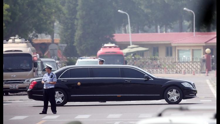 A sedan apparently carrying North Korean leader Kim Jong Un leaves Beijing International Airport in Beijing, China, June 19,  2018.