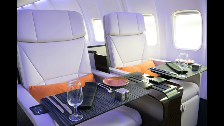 """The """"Four Seasons Private Jet"""" is a Boeing 757 overhauled to include just 52 lie-flat seats in 2-by-2 configuration."""