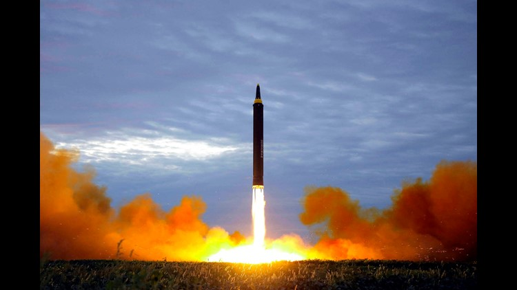 This Aug. 29, 2017 file photo distributed on Aug. 30, 2017 by the North Korean government shows what was said to be the test launch of a Hwasong-12 intermediate range missile in Pyongyang, North Korea.