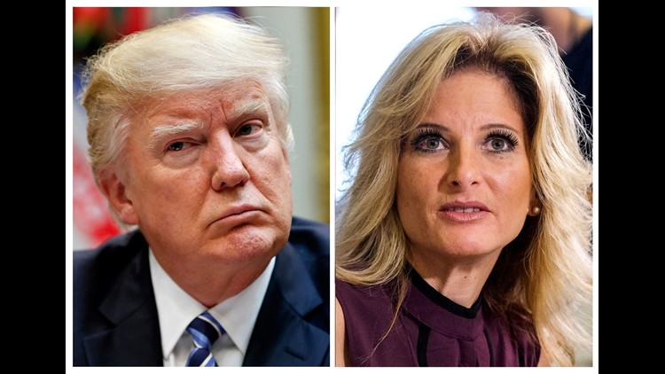 """This combination photo shows President Trump, left, listening  during a 2017 White House meeting on health care and Summer Zervos, a former contestant on """"The Apprentice"""" appearsing at a 2016 Los Angeles news conference where she said accused Trump of mak"""