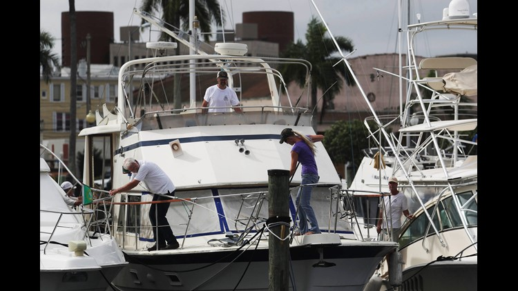Boaters in Fort Myers Fla. just south of Tampa prepare for Hurricane Irma