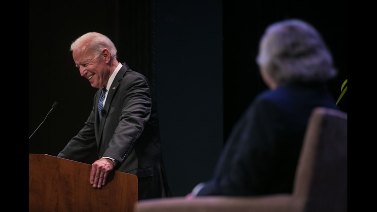 """Joe Biden, the 47th Vice President of the United States and Ernie Moniz, former secretary of energy and CEO of the Energy Futures Initiative, meet at Mitchell Hall on the campus of the University of Delaware for the """"21st Century Clean Energy Solutions"""","""
