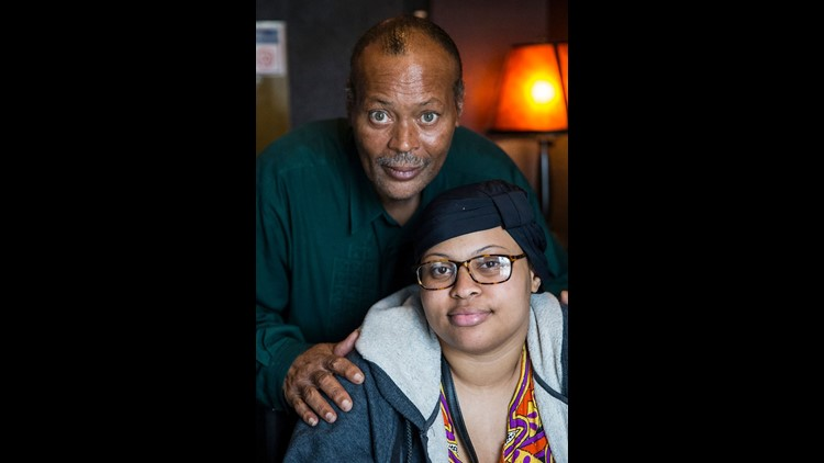 Virgil Harris and his 23-year-old daughter Jazmyne Harris pose for a portrait in Indianapolis, Sunday, June 10, 2018. Jazmyne was diagnosed with Friedreich's ataxia (FA) at age 14. Ever since, Virgil has fought to raise funds for all people living with FA