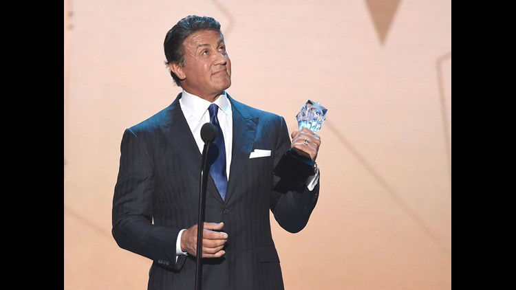 "Sylvester Stallone accepts the Best Supporting Actor award for ""Creed"" at Critics' Choice Awards on Jan. 17, 2016 in Santa Monica."
