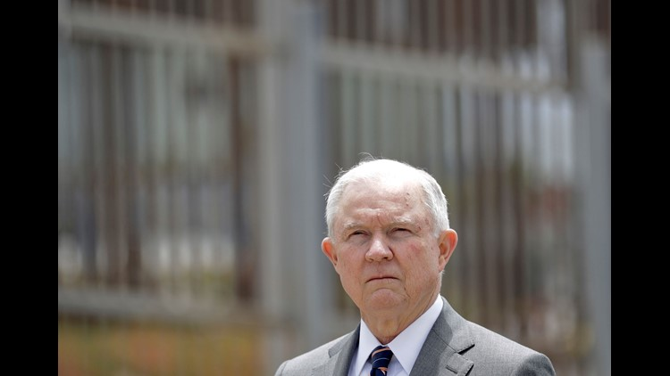 "Attorney General Jeff Sessions listens during a news conference in San Diego near the border with Tijuana, Mexico. Splitting families has emerged as a high-profile and highly controversial practice since Sessions announced a ""zero tolerance"" policy at the"