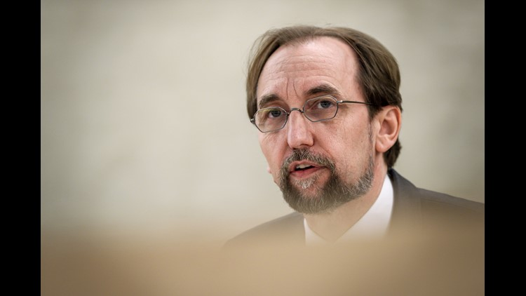 "United Nations High Commissioner for Human Rights Zeid Ra'ad Al Hussein delivers a speech on May 18, 2018 in Geneva, during a special session of the U.N. Human Rights Council to discuss ""the deteriorating human rights situation"" in the Palestinian territo"