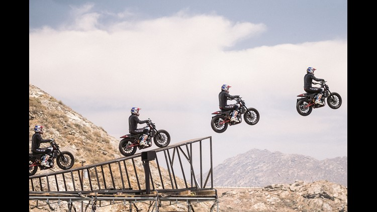 Travis Pastrana will try to break Evil Knievel's record jump over the length of 52 cars and another record-breaking jump over 16 full size buses. He will also aim to become the first person to successfully jump the Caesars Palace fountain on a bike simila