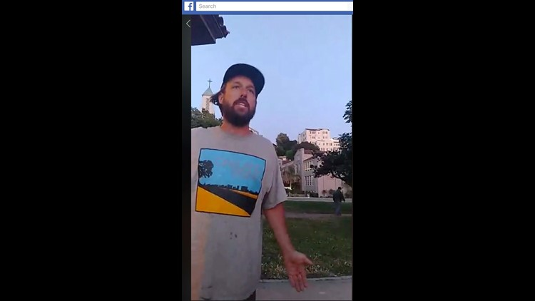 A Facebook live video posted Saturday shows a man allegedly seen at Lake Merritt park in Oakland, California, on Saturday.