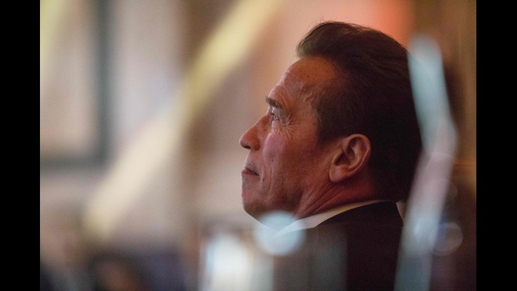 """Arnold Schwarzenegger, holding the chair of the """"R20 Regions of Climate Action"""" attends the """"R20 Austrian World Summit"""" on climate change in Vienna, Austria on May 15, 2018."""