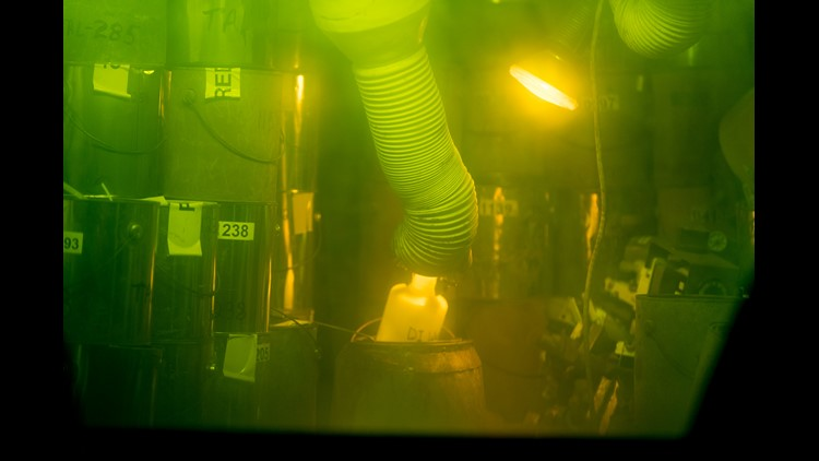 A manipulator works inside a radioactive hot cell at the Radiochemical Engineering Development Center at Oak Ridge National Laboratory on Wednesday, May 16, 2018.