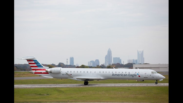 This file photo from Oct. 31, 2015, show an American Eagle Bombardier CRJ-900 regional jet at at Charlotte Douglas International Airport.