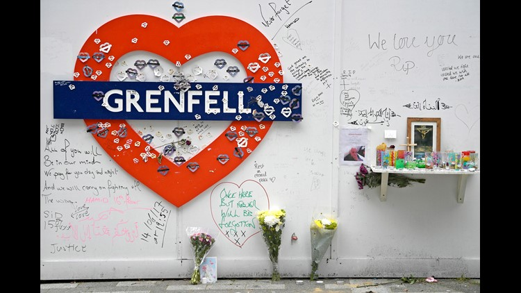Tributes to the victims of the Grenfell Tower fire are displayed in London, Britain, 13 June 2018, on the eve of the tragedy's first anniversary.