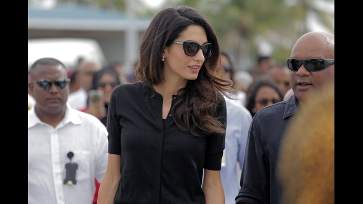 In this 2015 photo, human-rights lawyer Amal Clooney visits the Maldives to advocate on behalf of the nation's former president.
