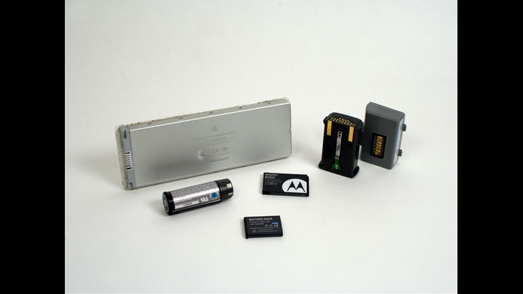 Lithium-Ion batteries from popular electronic devices such as cell phones, power tools, laptop computers and batteries.