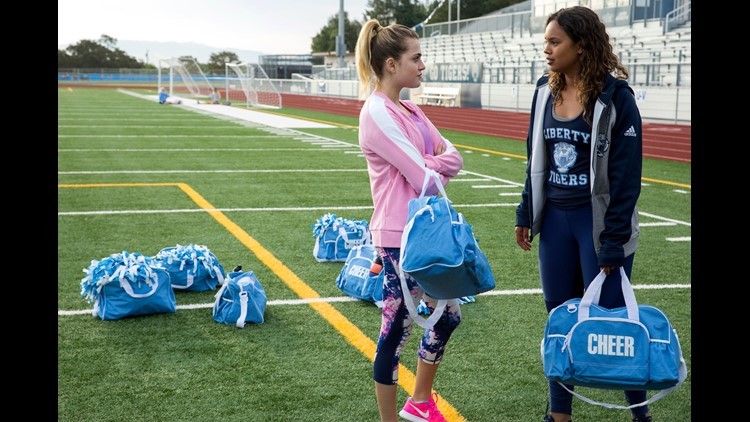 13 Reasons Why actresses Anne Winters, left, and Alisha Boe, are shown during production.