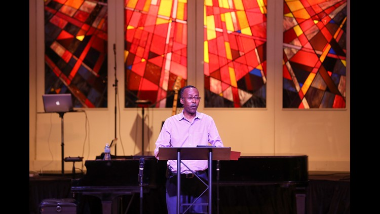 Peoples Church Associate Pastor the Rev. Petros Yefru, a native of Ethiopia and head of international ministries at the Corryville church, delivers a sermon about teaching and learning at the 9:30 Sunday morning serivce May 27. Sunday, May 27, 2018, in Ci