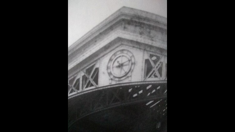 This is an undated photo of the clock at the Michigan Central Station gateway.