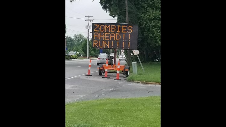 Pranksters changed the traffic sign in the 3400 block of E. Market Street, a short distance from Mt. Zion Road, in Springettsbury Twp. on Thursday, May 17, 2018.