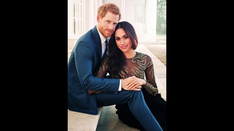 Prince Harry and Meghan Markle pose for one of two official engagement photos at Frogmore House in December, 2017 in Windsor.