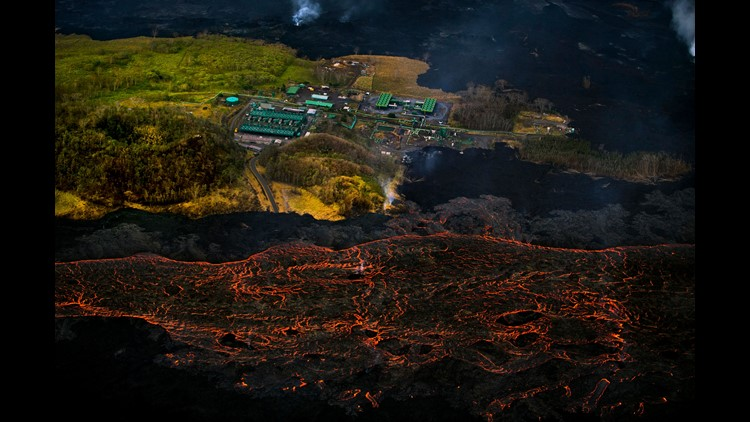 Lava from the Kilauea volcano flows near the Puna Geothermal Venture power plant on June 10, 2018 in Pahoa, Hawaii.