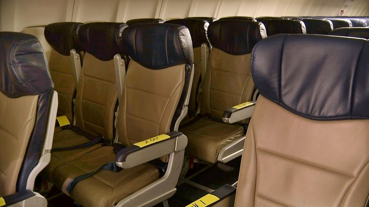 Rows of slimline seats await installation aboard a Southwest Airlines 737 at the carrier's headquarters in Dallas.
