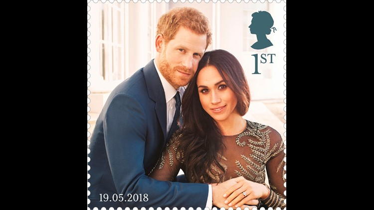 The Royal Mail released a new stamp of Prince Harry and his fiancee Meghan Markle, part of a set of four stamps showing the couple in their engagement photos.