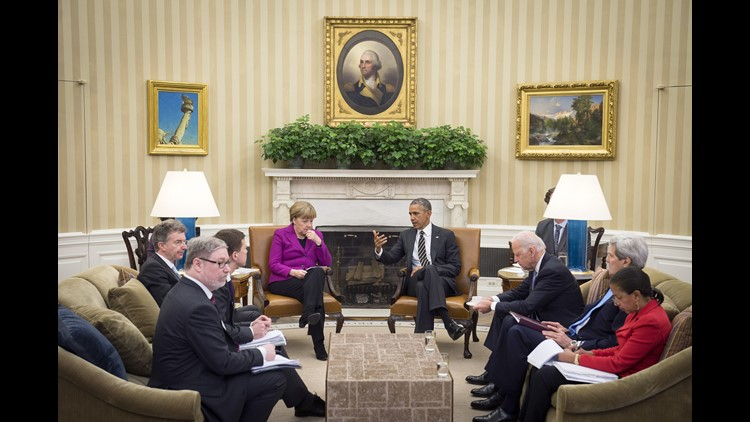 German Chancellor Angela Merkel and President Obama meet in the Oval Office of the White House on Feb. 9, 2015,  in Washington, D.C.
