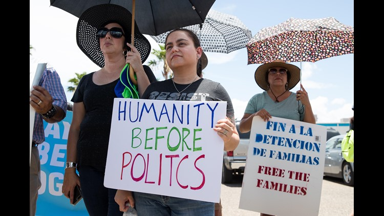 People gather for a vigil lead by the Families Belong Together campaign on June 17, 2018 outside U.S. Border Patrol McAllen Station, calling for the end of family separation.