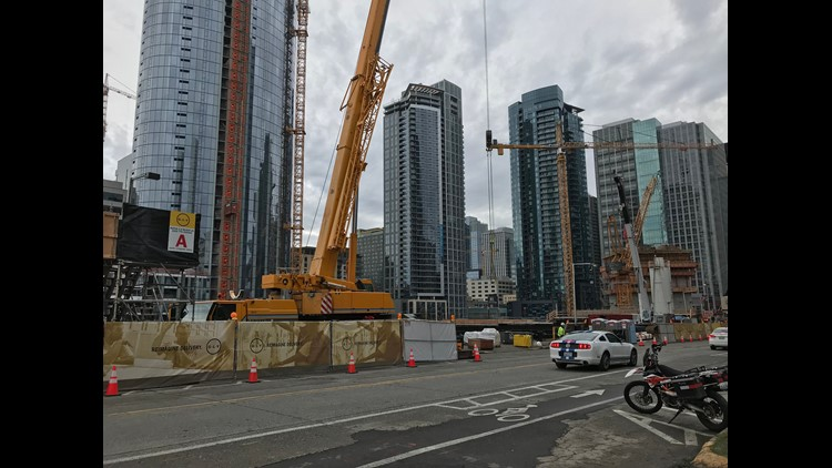 A street near Amazon headquarters in downtown Seattle, where cranes dot the sky as new office buildings, condos and apartments are built.