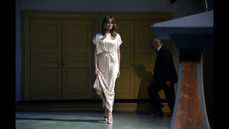 First Lady Melania Trump on stage during the annual gala at Ford's Theatre to honor President Lincoln's legacy, on June 4, 2017 in Washington.
