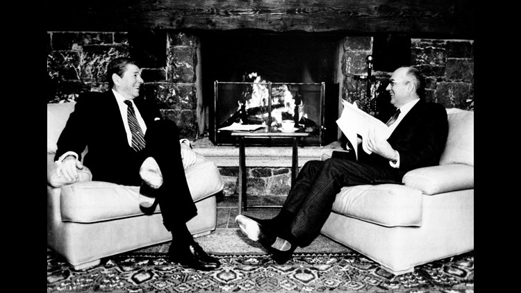 U.S. President Ronald Reagan, left, and Soviet leader Mikhail S. Gorbachev are shown in front of a fireplace during their meeting at the Geneva Summit in Switzerland on Nov. 19, 1985.