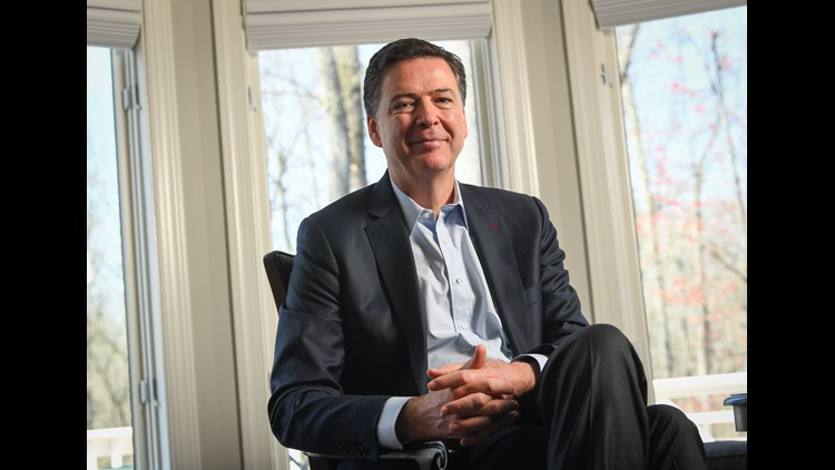 "Former FBI director James Comey sits for an interview with USA TODAY reporters Susan Page and Kevin Johnson ahead of the release of his book, ""A Higher Loyalty: Truth, Lies and Leadership,"" on April 13, 2018."