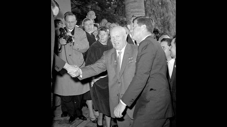 Soviet Premier Nikita Khrushchev meets with President Kennedy at the residence of the U.S. ambassador in Vienna on June 3, 1961.