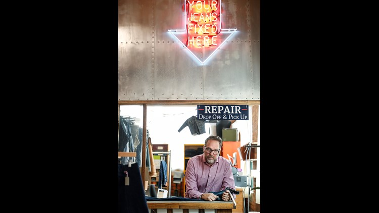 Detroit Denim founder Eric Yelsma at the Detroit Denim Factory and Store in Detroit, Sunday, August 5, 2018. Yelsma said his jeans are worth the price because buyers can bring them back in for repairs.