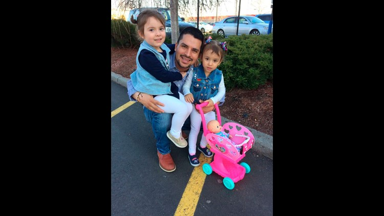 Pablo Villavicencio poses with his two daughters, Luciana, left, and Antonia, in an undated photo provided by his wife, Sandra Chica. Villavicencio is being detained by Immigration and Customs Enforcement, which seeks to deport him to Ecuador.