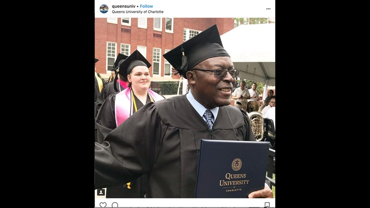 An Instagram post from Queens University in Charlotte, North Carolina, celebrates the graduation of Freddie Sherrill.