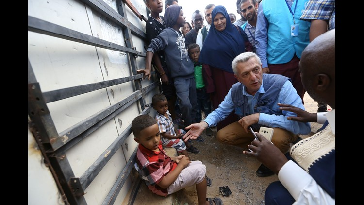 Filippo Grandi, the United Nations High Commissioner for Refugees, visits a refugee camp providing temporary shelter to Libyans who were displaced from the town of Tawergha, near the Libyan capital Tripoli on June 18, 2018.