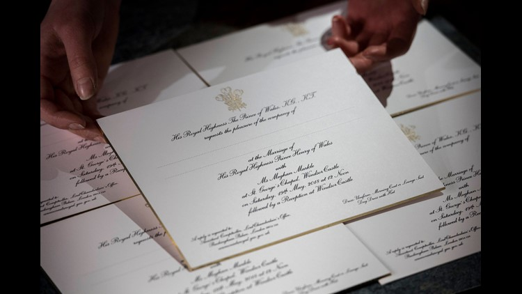 Invitations for Prince Harry and Meghan Markle's wedding, printed at the workshop of Barnard and Westwood in London.