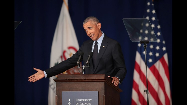 Former President Barack Obama at the University of Illinois on Sept. 7, 2018.