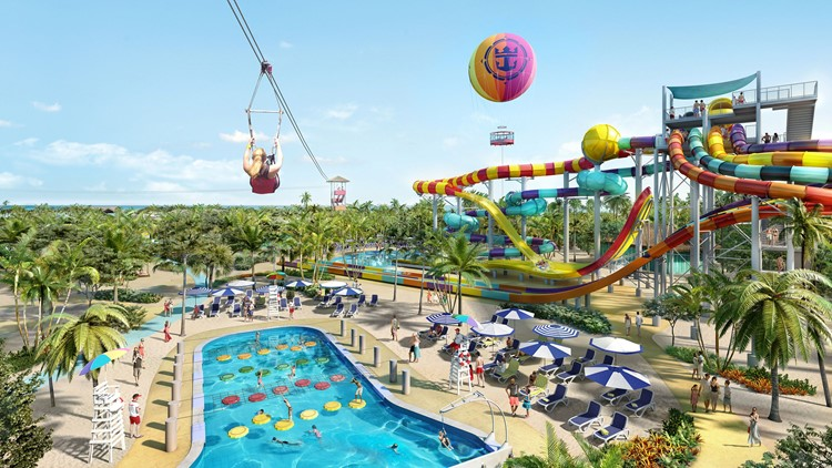 The new Perfect Day at CocoCay will feature a 1,600-foot-long zip line that ends in a watery splash as well 13 water slides.