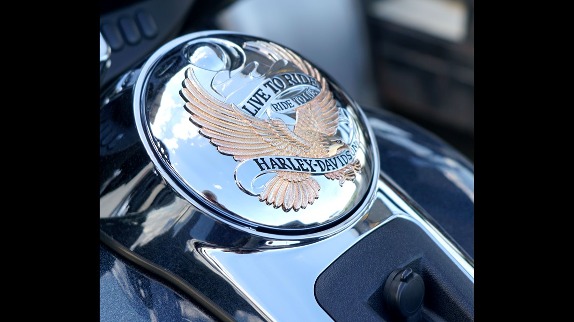 A Golden Eagle Adorns Harley Davidson Motorcycle At The Thunder Mountain Dealership In Loveland Colorado As Seen On June 26 2018
