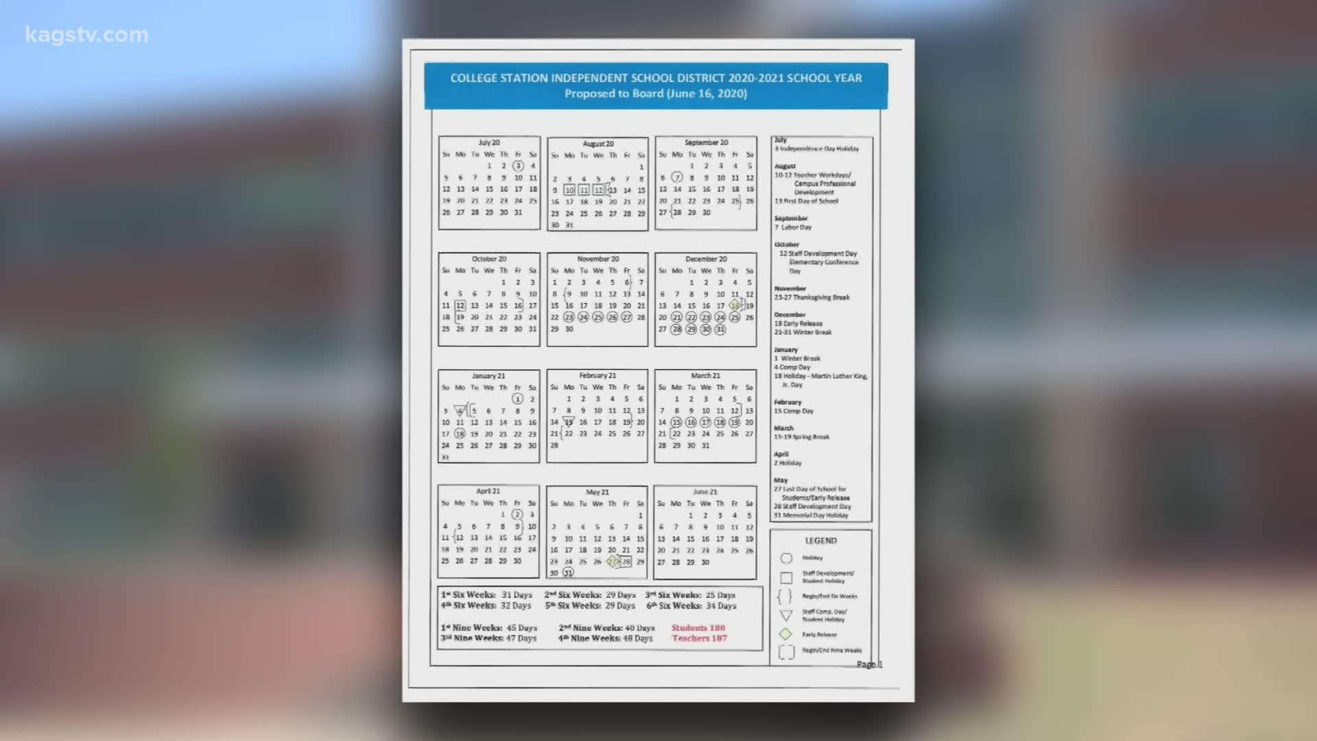 College Station ISD revises 2020 2021 calendar   wbir.com