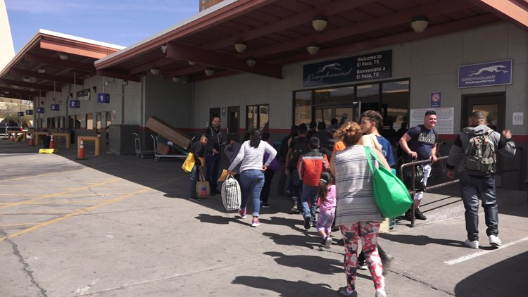 Asylum-seeking families are dropped off at the El Paso bus station