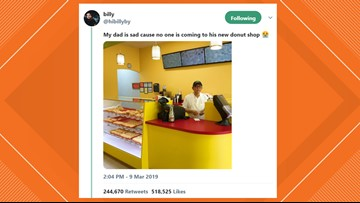 Son's 'sad' tweet about Missouri City donut shop causes rush of customers
