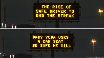 'Baby Yoda' uses a car seat, advises Houston freeway signs