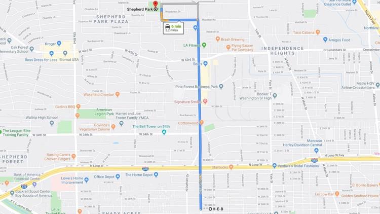 HEB Shepherd Park map